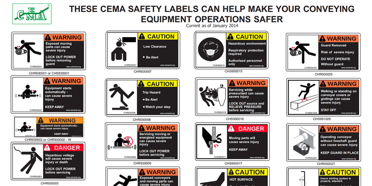A sample of warning labels for conveyor equipment.